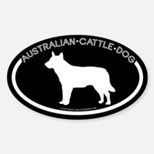 """Australian Cattle Dog"" Black Oval Decal"