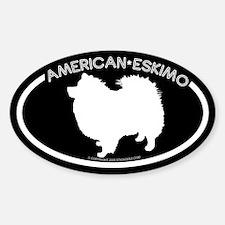 """American Eskimo"" Black Oval Decal"