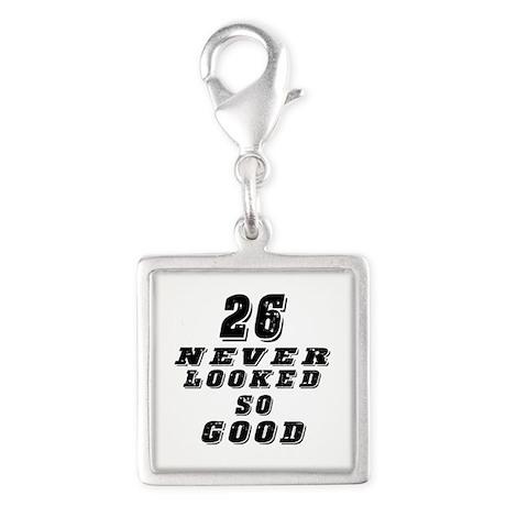 26 Birthday Designs Silver Square Charm