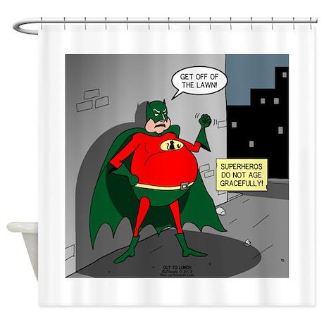 Aging superheros shower curtain by otl1 for Superhero shower curtain