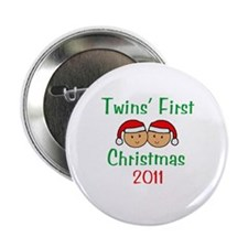 Twins First Santa Hats Button