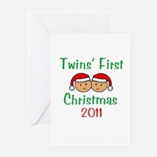 Twins First Santa Hats Greeting Cards (Package of