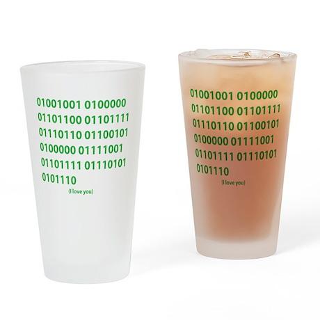 I LOVE YOU in Binary Code Drinking Glass