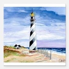 "American Lighthouse Square Car Magnet 3"" x 3"""