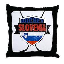 Hockey Hokej Slovenia Shield Throw Pillow