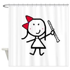 Girl & Clarinet Shower Curtain