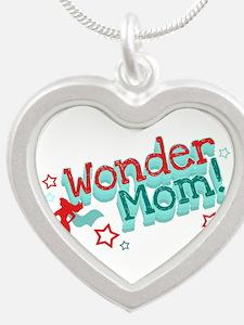 Wonder Mom Silver Heart Necklace