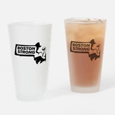 Boston Strong Bicep Black Drinking Glass