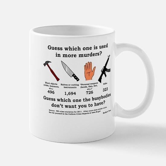Guess Which Weapon (black print) Mug
