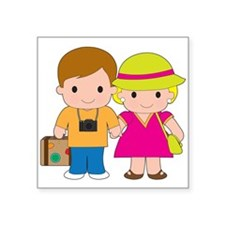 "Couple Travel Square Sticker 3"" x 3"""
