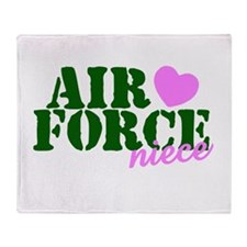 Air Force Niece Green Pink Heart Throw Blanket