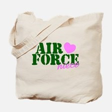 Air Force Niece Green Pink Heart Tote Bag