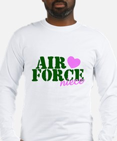 Air Force Niece Green Pink Heart Long Sleeve T-Shi