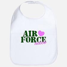 Air Force Niece Green Pink Heart Bib