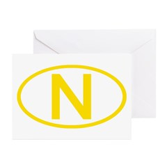 Norway - N Oval Greeting Cards (Pk of 10)