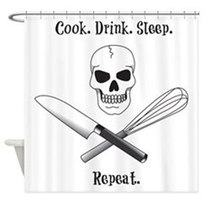 Cook. Drink. Sleep. Shower Curtain