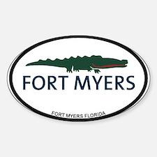 Fort Myers - Alligator Design. Sticker (Oval)