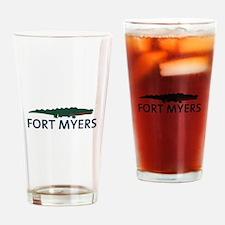 Fort Myers - Alligator Design. Drinking Glass