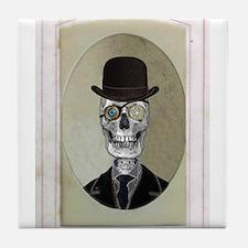 Victorian Portrait: Skull in Bowler Hat Tile Coast