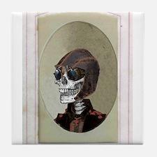Victorian Portrait: Skull in a Flyboy Hat Tile Coa