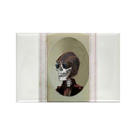 Victorian Portrait: Skull in a Flyboy Hat Rectangl