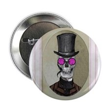 "Victorian Portrait: Skull in a Tophat 2.25"" Button"