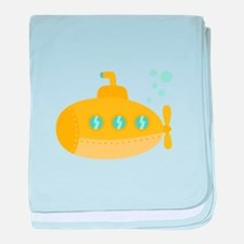 Yellow submarine with bubbles baby blanket