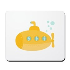 Yellow submarine with bubbles Mousepad
