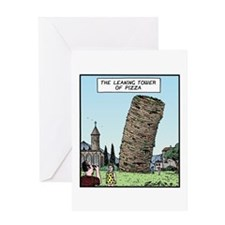 Tower of Pizza Greeting Card
