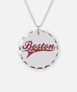 Boston Strong Red Ballpark Swoosh Necklace