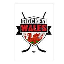Ice Hockey Wales Flag Shield Postcards (Package of