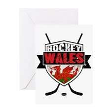 Ice Hockey Wales Flag Shield Greeting Card