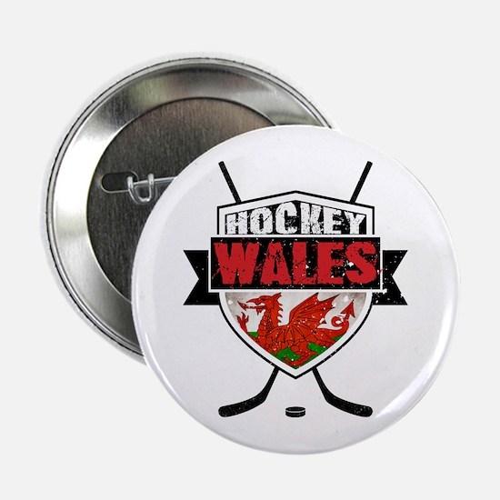 "Ice Hockey Wales Flag Shield 2.25"" Button"