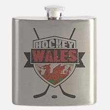 Ice Hockey Wales Flag Shield Flask