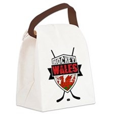 Ice Hockey Wales Flag Shield Canvas Lunch Bag