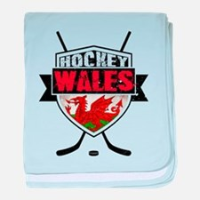 Ice Hockey Wales Flag Shield baby blanket
