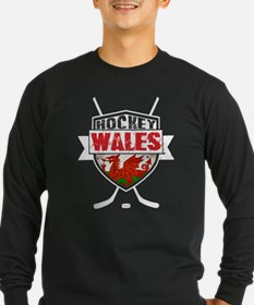 Ice Hockey Wales Flag Shield Long Sleeve T-Shirt