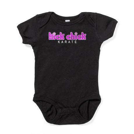 KarateKickChickWt.png Baby Bodysuit