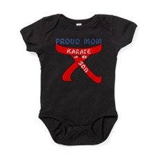 Proud Mom Karate Son Baby Bodysuit