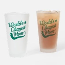 World's Okayest Mom Teal Drinking Glass