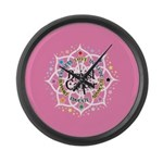 Breast Cancer Lotus Large Wall Clock