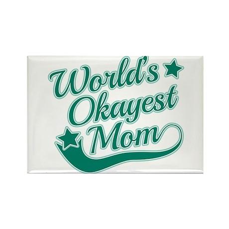 World's Okayest Mom Teal Rectangle Magnet (10 pack