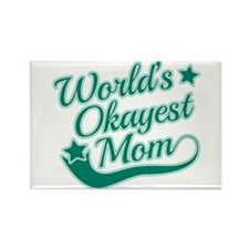 World's Okayest Mom Teal Rectangle Magnet