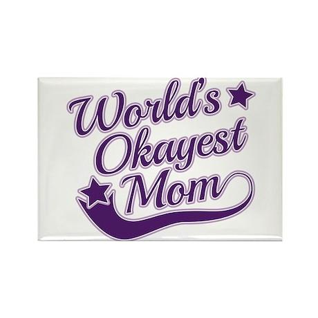World's Okayest Mom Purple Rectangle Magnet