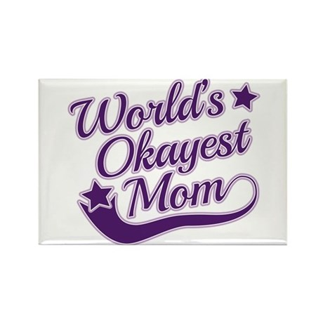 World's Okayest Mom Purple Rectangle Magnet (100 p