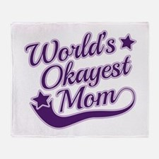 World's Okayest Mom Purple Throw Blanket