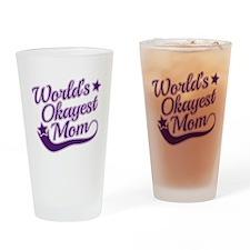 World's Okayest Mom Purple Drinking Glass