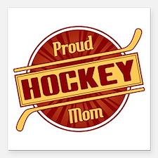 "Proud Hockey Mom Square Car Magnet 3"" x 3"""