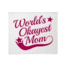 World's Okayest Mom Pink Throw Blanket