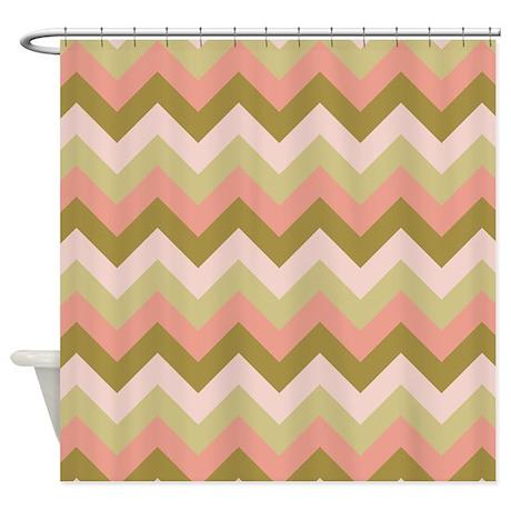 green and pink zigzag shower curtain by zandiepantshomedecor